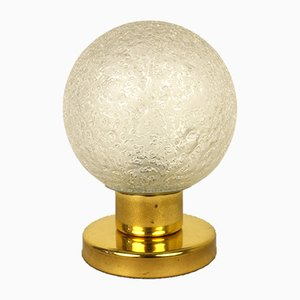 German Brass and Glass Ball Table Lamp from Doria Leuchten, 1960s