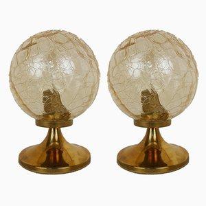 German Brass and Glass Ball Table Lamps from Wortmann & Filz, 1960s, Set of 2
