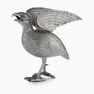 Antique 19th Century Indian Solid Silver Francolin Cream Jug from Oomersi Mawji, 1880s