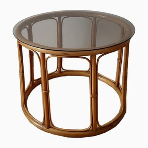 Vintage Rattan and Glass Coffee Table, 1980s