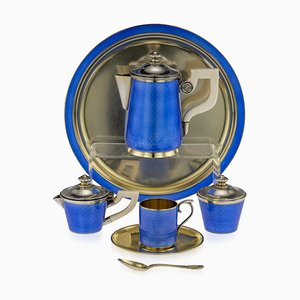 Antique French Silver GIlt and Guilloche Enamel Tea Set from Jules Marie, 1900s