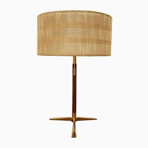 Teak and Brass Table Lamp by J. T. Kalmar for Kalmar, 1950s