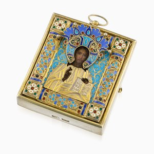 Antique 19th Century Russian Silver Gilt and Enamel Icon of Christ Pantocrator from Pavel Ovchinnikov, 1890s