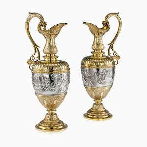Antique 19th Century Victorian Silver Gilt Wine Ewers from Elkington & Co, 1870s, Set of 2