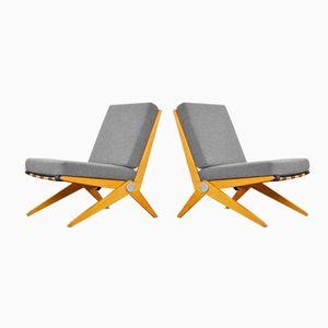 Model 92 Scissor Lounge Chairs by Pierre Jeanneret for Knoll International, 1950s, Set of 2