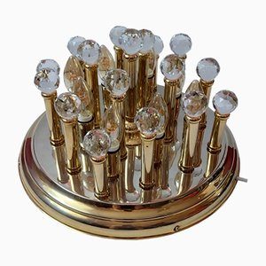 Vintage Brass and Swarovski Crystal Ceiling Lamp by Ernst Palme, 1970s