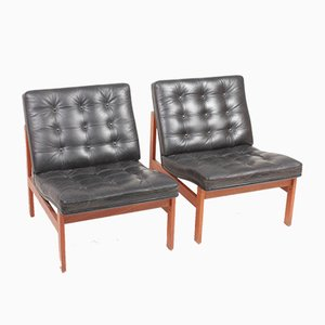 Mid-Century Patinated Leather Chaise Lounges by Ole Gjerløv-Knudsen & Torben Lind for France & Søn / France & Daverkosen, 1960s, Set of 2