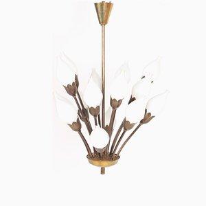 Dänischer Tulip Kronleuchter aus Messing & Glas von Fog & Mørup, 1950er