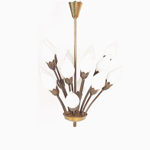 Danish Brass and Glass Tulip Chandelier from Fog & Mørup, 1950s