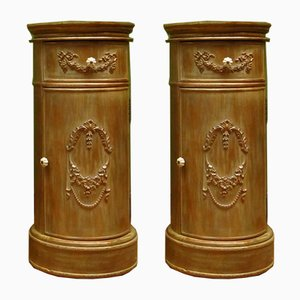 Antique French Round Painted Bedside Cabinets, Set of 2