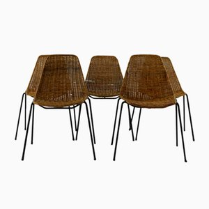 Rattan Dining Chairs by Gian Franco Legler for Aarea, 1951, Set of 5