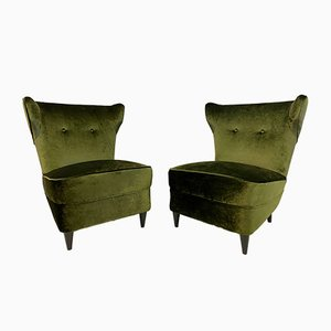 Mid-Century Italian Green Velvet Slipper Lounge Chairs, 1950s, Set of 2