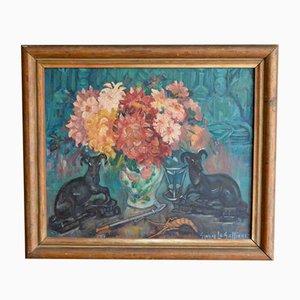 Dipinto ad olio con fiori e natura morta di Gwenn Le Galienne, anni '30