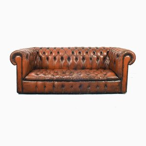 Vintage English Leather Chester Capitonne Sofa, 1970s