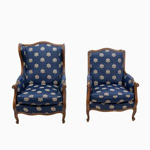 Antique Louis XVI Style French Bergère Armchairs, Set of 2
