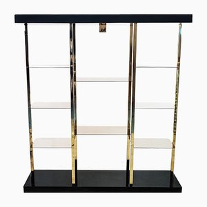 Brass and Smoked Glass Display Cabinet from Belgo Chrome, 1970s