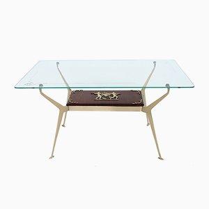 Table Basse Vintage en Laiton et en Acajou par Cesare Lacca, Italie, 1950s