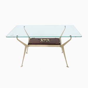 Vintage Italian Brass and Mahogany Coffee Table by Cesare Lacca, 1950s