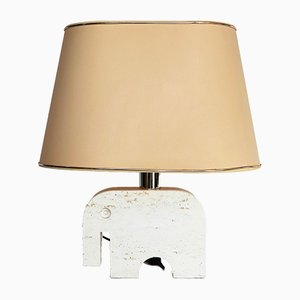 Vintage Italian Travertine Marble Elephant Table Lamp by Fratelli Mannelli for Signa, 1970s