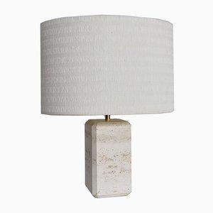 Lámpara de mesa italiana vintage de mármol travertino
