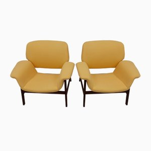 Rosewood and Yellow Fabric Model 849 Lounge Chairs by Gianfranco Frattini for Cassina, 1950s, Set of 2