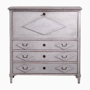 Gustavian 2-Part Secretaire with Inside Drawers & Double Iron Handles