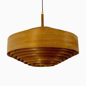 Lámpara colgante de madera de Hans-Agne Jakobsson para AB Ellysett Markaryd, Sweden, años 60
