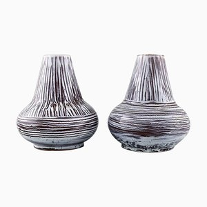 Vases in Glazed Ceramic in Striped Design from Accolay, France, Set of 2