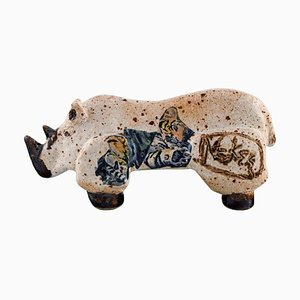 Rhino Figure in Glazed Ceramic, 1980s