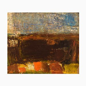 Danish Modernist Landscape Oil Board by Lili Ege, 1964