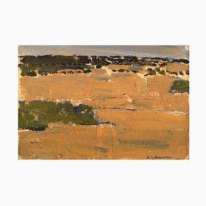 Swedish Modernist Landscape Oil Board by Nils-Göran Brunner, 1950s