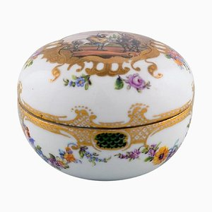 Antique Meissen Lidded Jar in Hand-Painted Porcelain with Romantic Scene