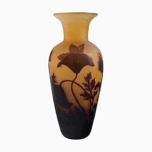 Art Nouveau Vase in Cameo Art Glass with Flowers from D'argental, France