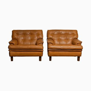 Quilted Buffalo Leather Merkur Lounge Chairs by Arne Norell, Sweden, 1960s, Set of 2