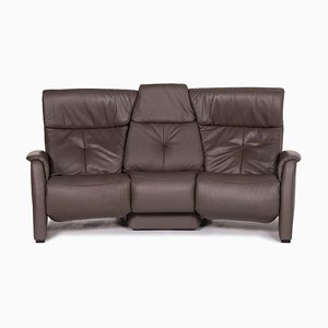 Grey-Brown Leather Trapeze 2-Seat Relax Function Sofa from Himolla
