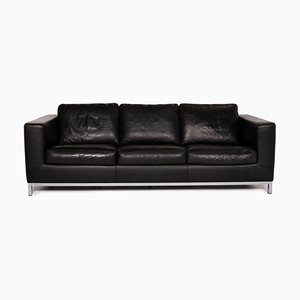 Black Leather 3-Seat Sofa from Machalke