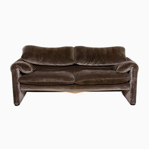 Brown-Grey Velvet Maralunga 2-Seat Sofa from Cassina
