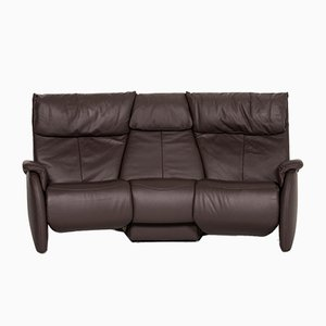 Anthracite Grey-Brown Leather 3-Seat Relax Function Sofa from Himolla