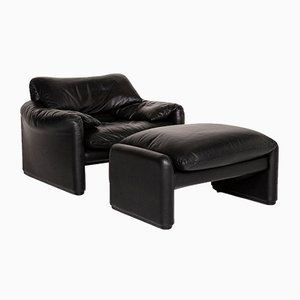 Black Lather Maralunga Armchair & Stool from Cassina, Set of 2