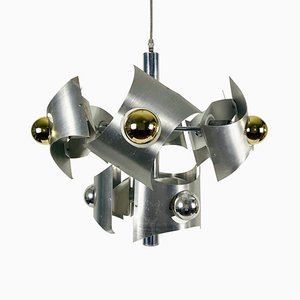 Italian Space Age Chrome Chandelier, 1960s