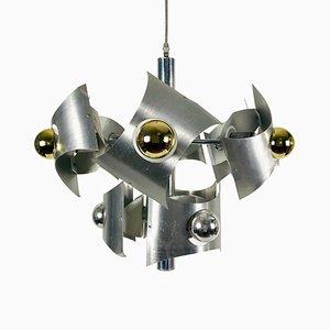 Lámpara de araña italiana era espacial de cromo, años 60