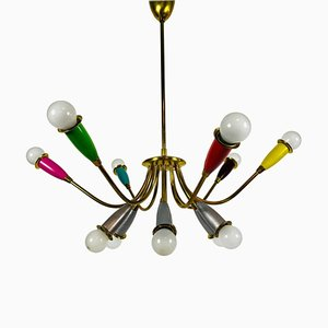 Mid-Century Italian Brass 12-Arm Sputnik Chandelier Attributed to Arredoluce, 1950s