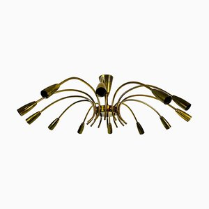 Large Mid-Century Brass 12-Arm Chandelier from Kalmar, 1950s