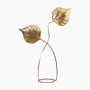 Rhubarb 2-Leaves Brass Floor Lamp by Tommaso Barbi, 1970s