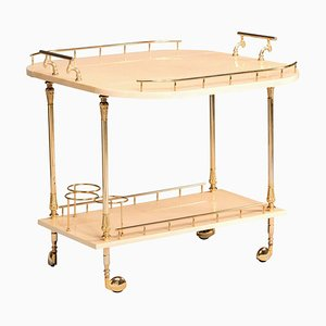 Parchment and Brass Hardware Wheeled Tray Dry Cocktail Bar by Aldo Tura, 1950s