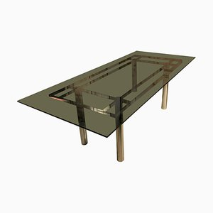 Italian Smoked Glass Chromed Steel Structure Table by Afra & Tobia Scarpa for Gavina, 1960s