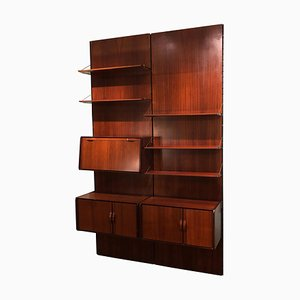 Vintage Italian Black Detail and Rosewood Equipped Wood Wall Bookcase, 1970s