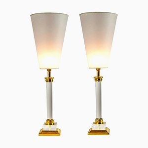 Transparent Plexiglass Golden Brass Table Lamps, Italy, 1970s, Set of 2