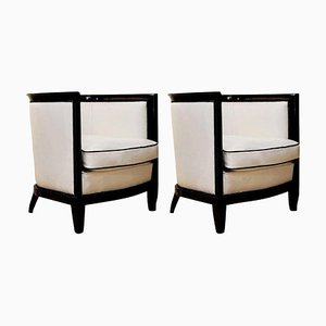 Art Deco White and Black Leather Ebonized Black Wood Bucket Chairs, 1930s, Set of 2