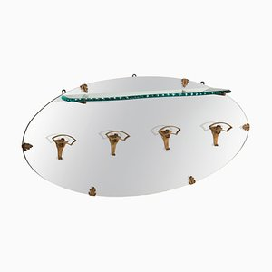 Golden Iron Hangers Glass Shelf Oval Mirror Coat Rack by Pier Luigi Colli, Italy, 1950s